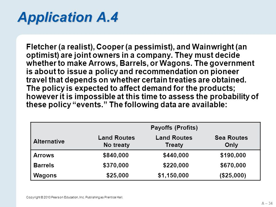 A – 34 Copyright © 2010 Pearson Education, Inc. Publishing as Prentice Hall. Application A.4 Fletcher (a realist), Cooper (a pessimist), and Wainwrigh