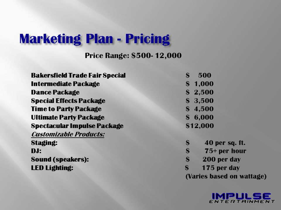 Bakersfield Trade Fair Special$ 500 Intermediate Package $ 1,000 Dance Package$ 2,500 Special Effects Package$ 3,500 Time to Party Package $ 4,500 Ultimate Party Package$ 6,000 Spectacular Impulse Package$12,000 Customizable Products: Staging:$ 40 per sq.