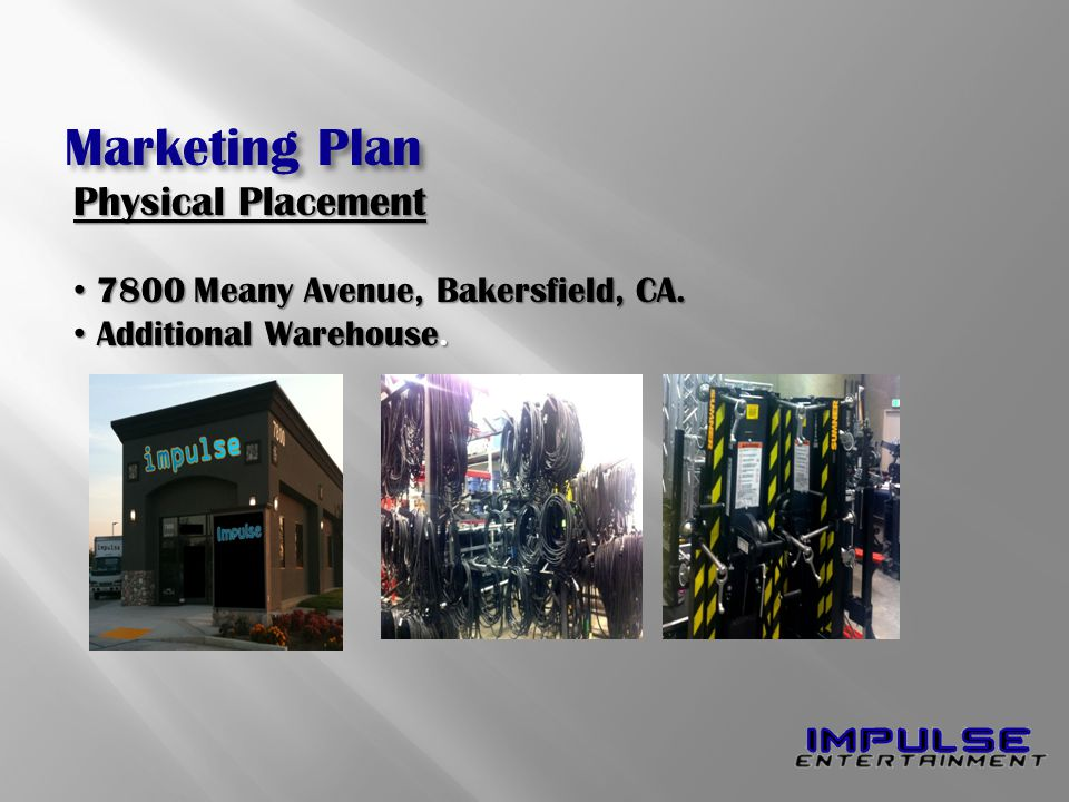 Physical Placement 7800 Meany Avenue, Bakersfield, CA. 7800 Meany Avenue, Bakersfield, CA. Additional Warehouse. Additional Warehouse. Marketing Plan
