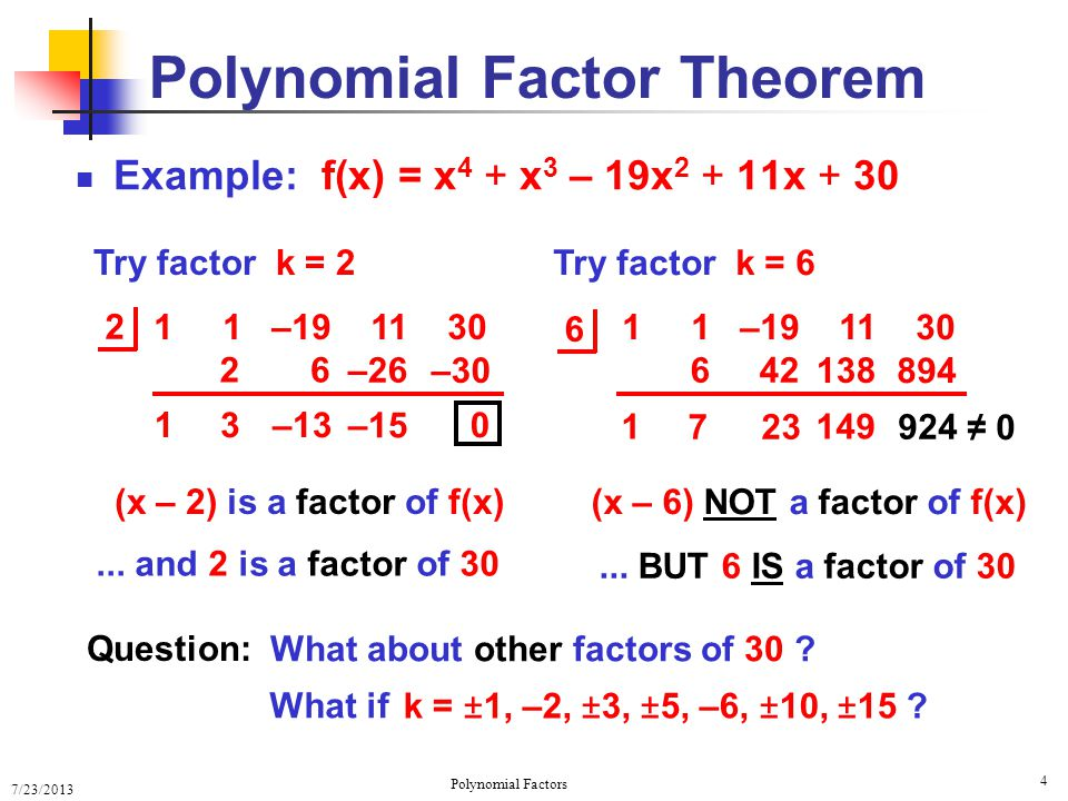 7/23/2013 Polynomial Factors 5 Factor Theorem Example Given the graph of polynomial f(x) Estimate the degree of f(x) Even or odd degree .
