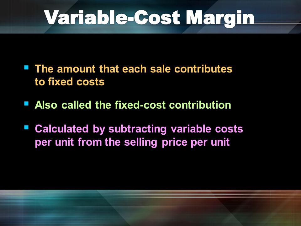 BP —break-even point FC —total fixed costs VCM —variable-cost margin Formula— BP = FC ÷ VCM Break-even equals total fixed costs divided by the variable-cost margin.