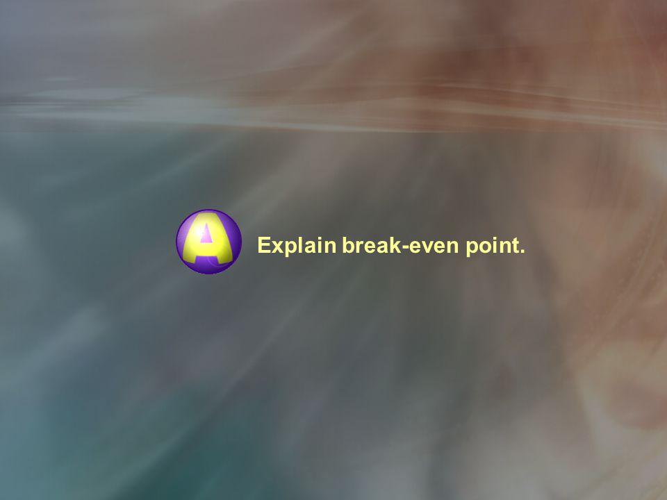 Explain break-even point.