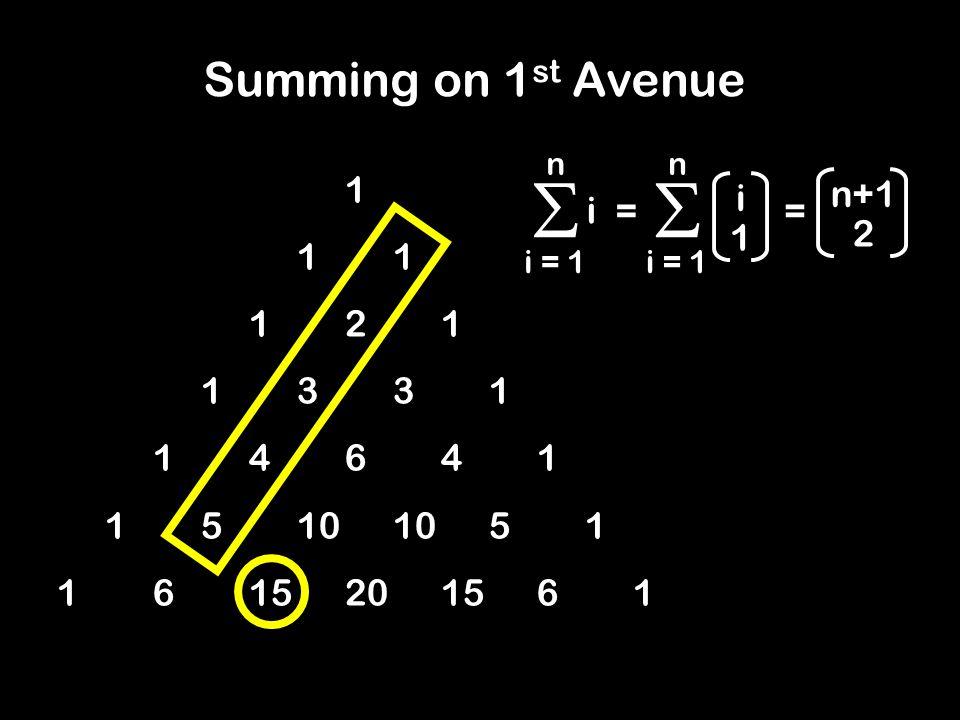 11 121 1331 14641 15101051 1615201561 Summing on 1 st Avenue  i = 1 n i 1 =  n i n+1 2 =