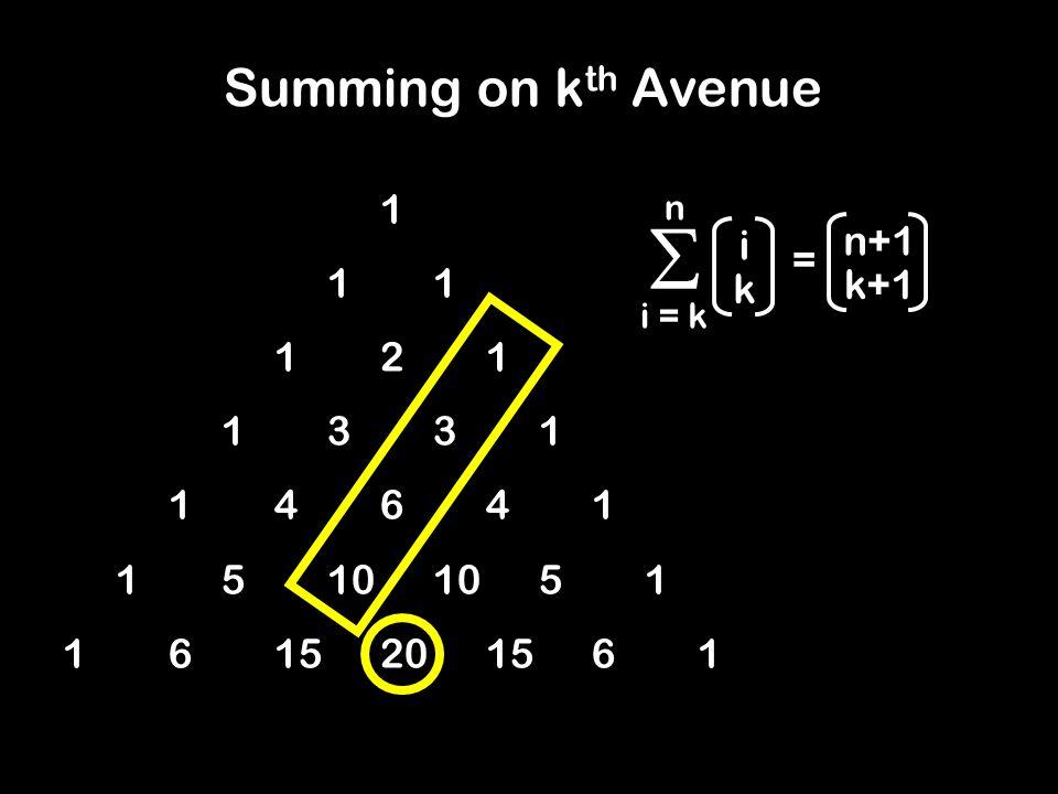 11 121 1331 14641 15101051 1615201561 Summing on k th Avenue  i = k n i k n+1 k+1 =