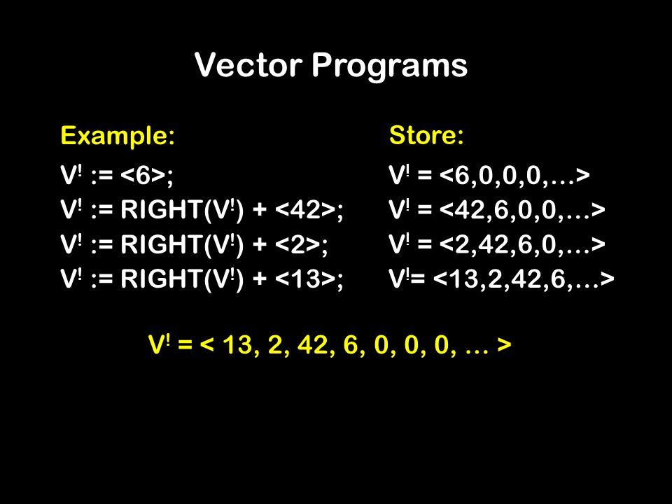 Vector Programs Example: V ! := ; V ! := RIGHT(V ! ) + ; V ! = Store: V ! =