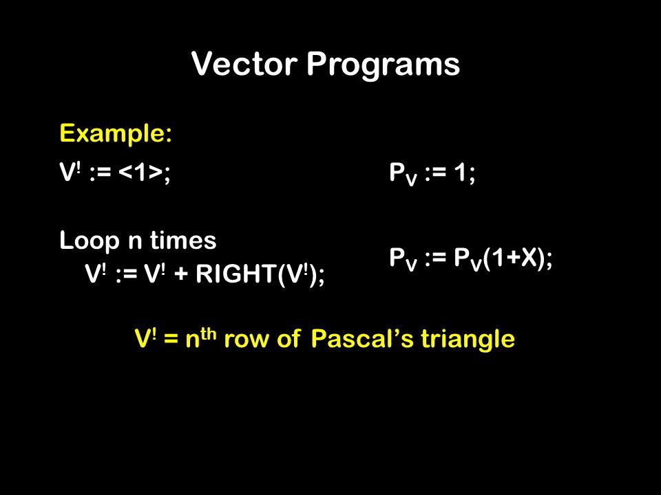 Vector Programs Example: V . := ; Loop n times V .