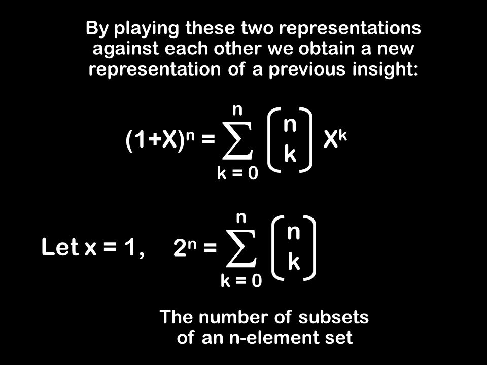By playing these two representations against each other we obtain a new representation of a previous insight: (1+X) n = n k XkXk  k = 0 n Let x = 1, n k  k = 0 n 2 n = The number of subsets of an n-element set
