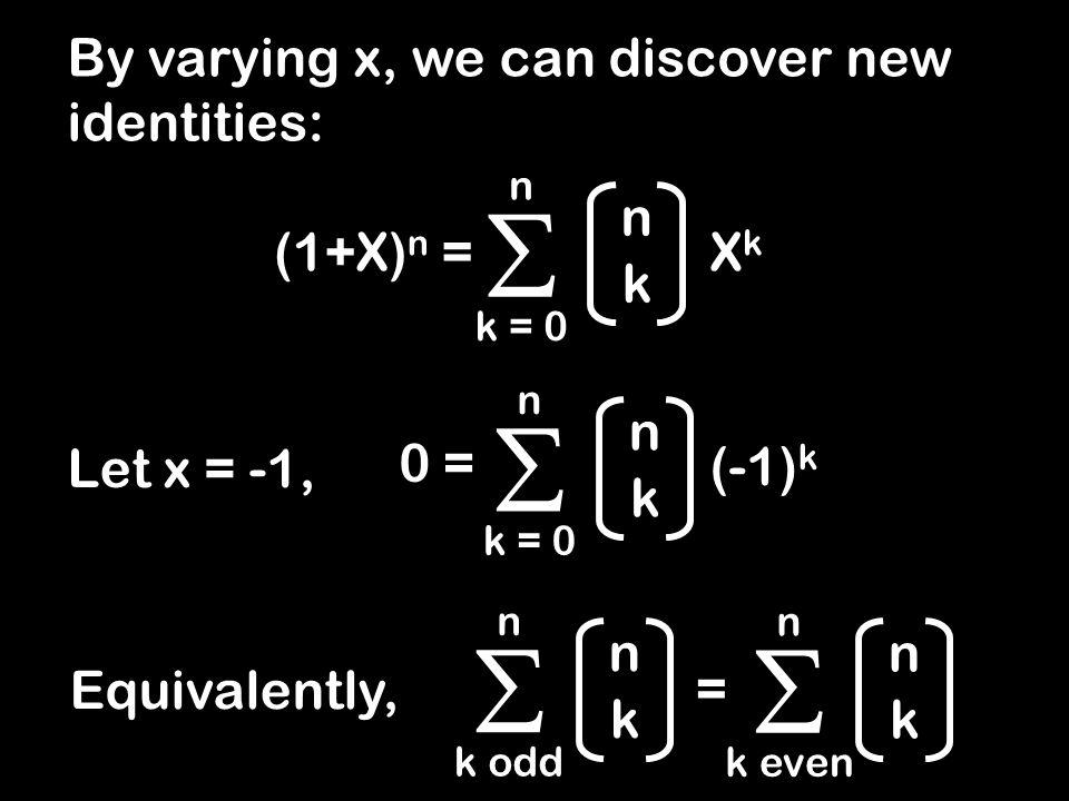 11 121 1331 14641 15101051 1615201561 Summing the Rows +++++++++++++++++++++++++++++++++++++++++++ n k  k = 0 n 2 n = = 1 = 2 = 4 = 8 = 16 = 32 = 64