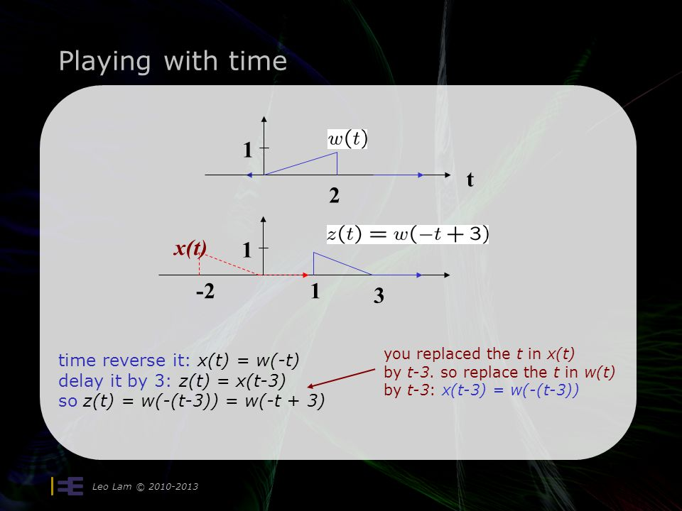 Playing with time Leo Lam © 2010-2013 time reverse it: x(t) = w(-t) delay it by 3: z(t) = x(t-3) so z(t) = w(-(t-3)) = w(-t + 3) t 1 2 1 -21 3 x(t) yo
