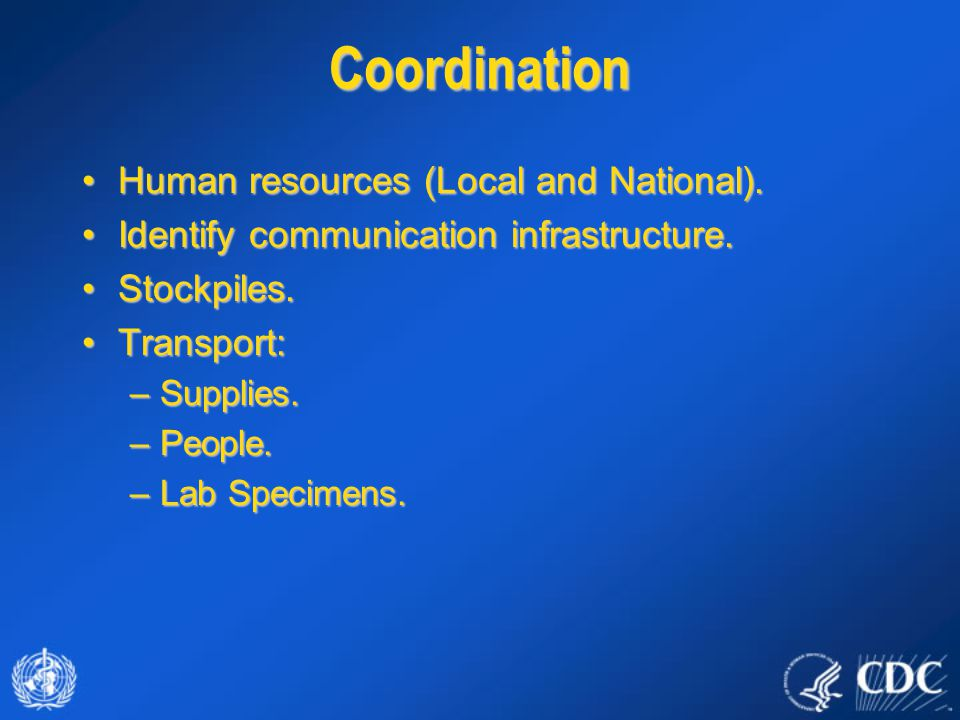 Coordination Human resources (Local and National).Human resources (Local and National). Identify communication infrastructure.Identify communication i