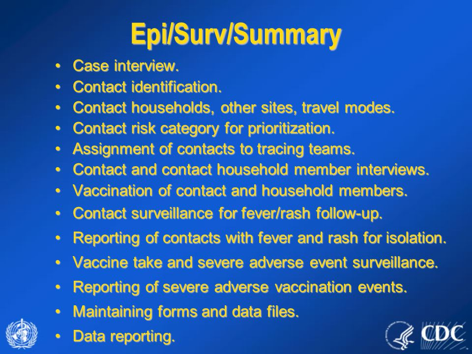 Epi/Surv/Summary Case interview.Case interview. Contact identification.Contact identification. Contact households, other sites, travel modes.Contact h