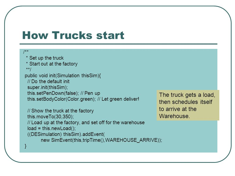 How Trucks start /** * Set up the truck * Start out at the factory **/ public void init(Simulation thisSim){ // Do the default init super.init(thisSim); this.setPenDown(false); // Pen up this.setBodyColor(Color.green); // Let green deliver.