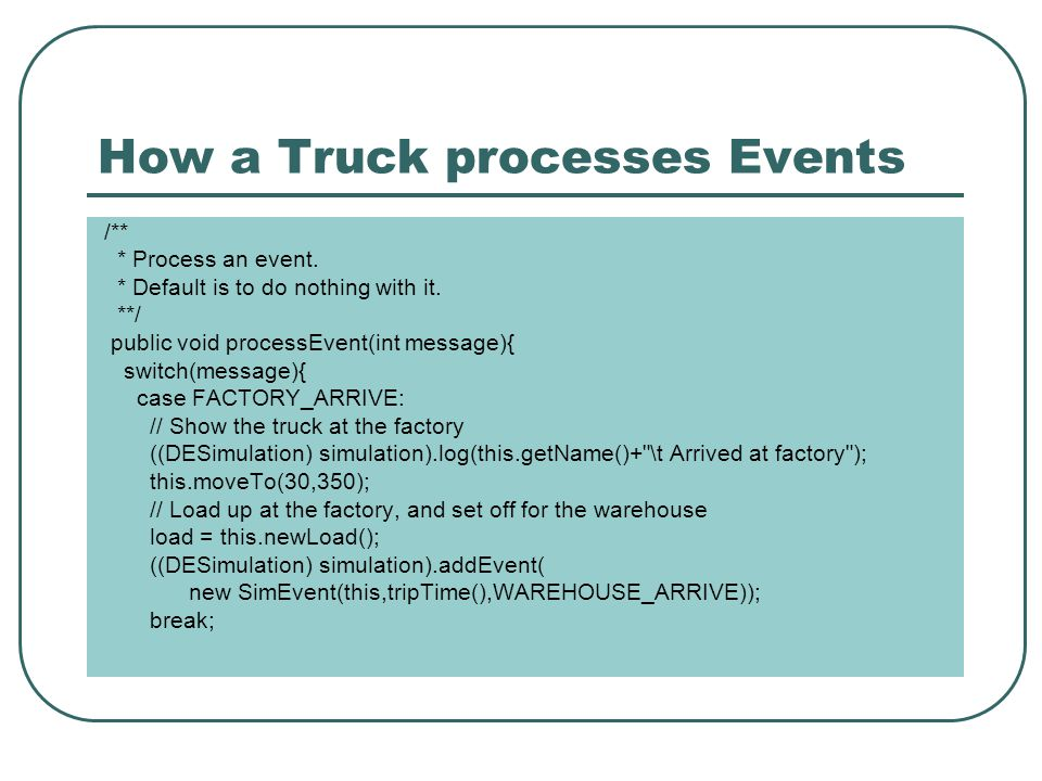 How a Truck processes Events /** * Process an event.
