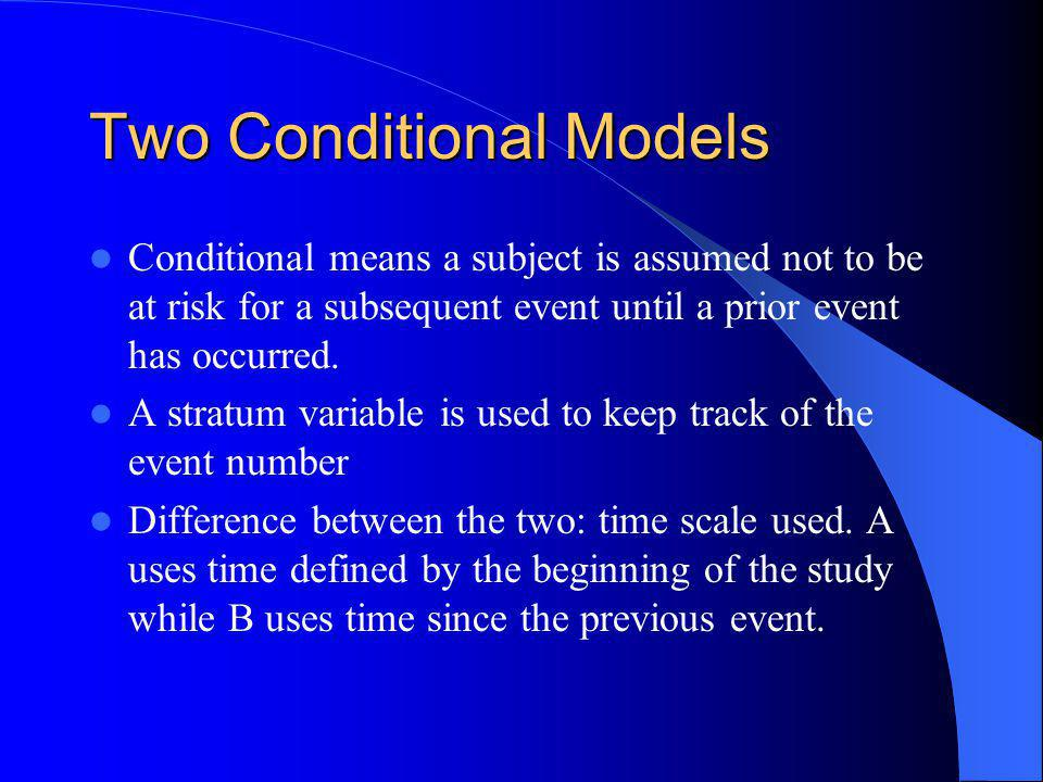 Two Conditional Models Conditional means a subject is assumed not to be at risk for a subsequent event until a prior event has occurred.