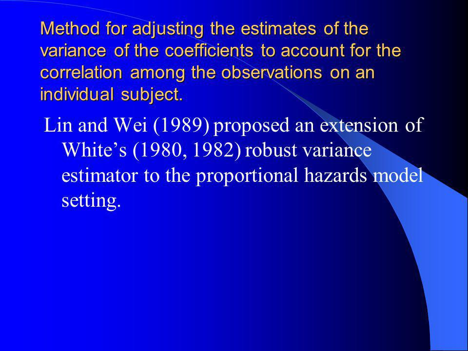 Method for adjusting the estimates of the variance of the coefficients to account for the correlation among the observations on an individual subject.