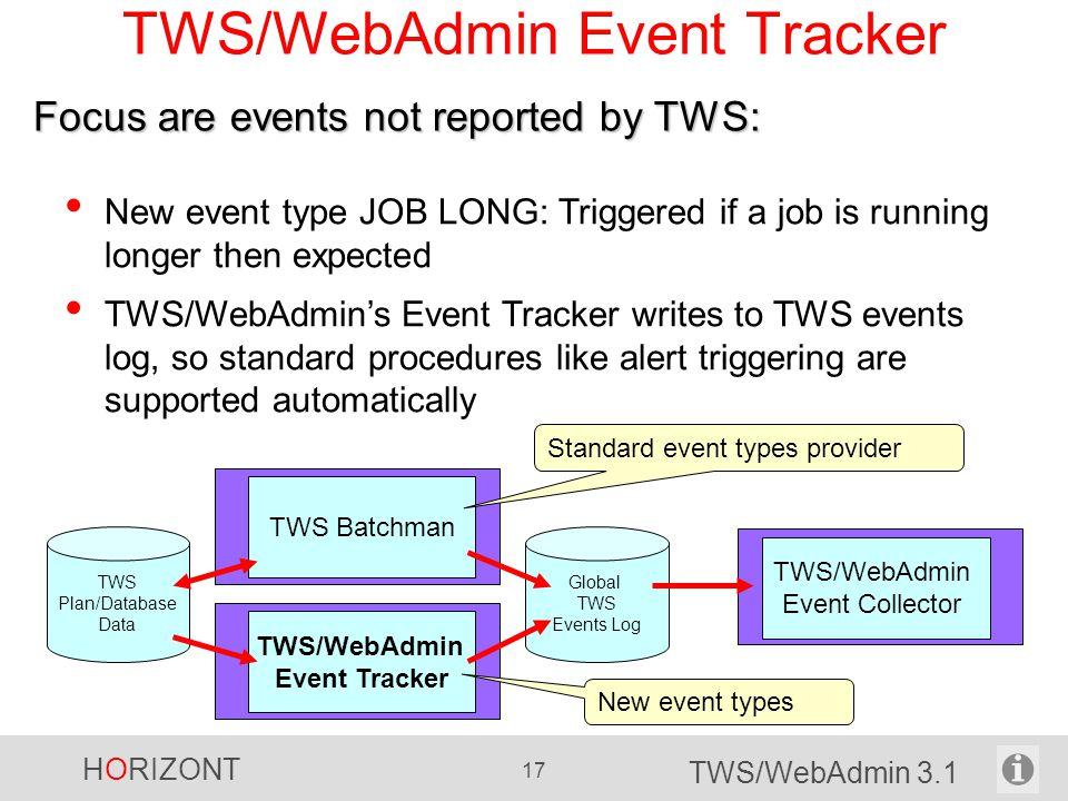 HORIZONT 17 TWS/WebAdmin 3.1 TWS/WebAdmin Event Tracker New event type JOB LONG: Triggered if a job is running longer then expected TWS/WebAdmin's Eve
