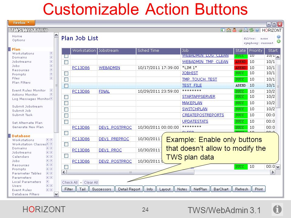 HORIZONT 24 TWS/WebAdmin 3.1 Customizable Action Buttons Example: Enable only buttons that doesn't allow to modify the TWS plan data