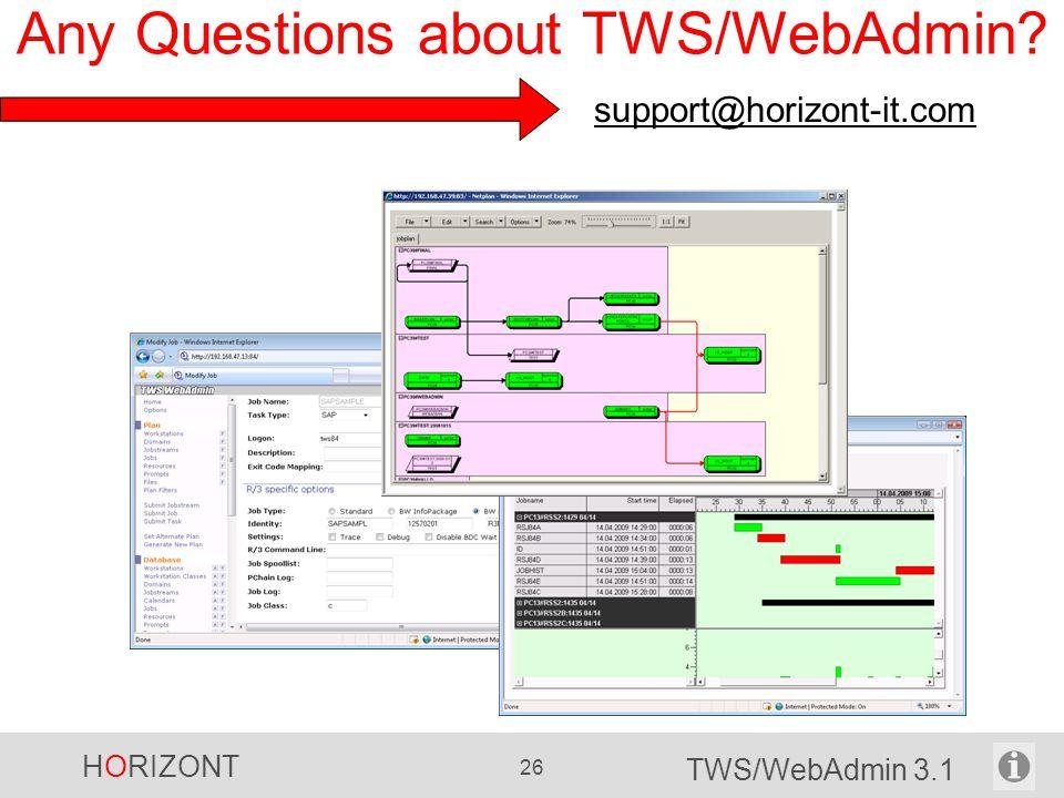 HORIZONT 26 TWS/WebAdmin 3.1 Any Questions about TWS/WebAdmin? support@horizont-it.com