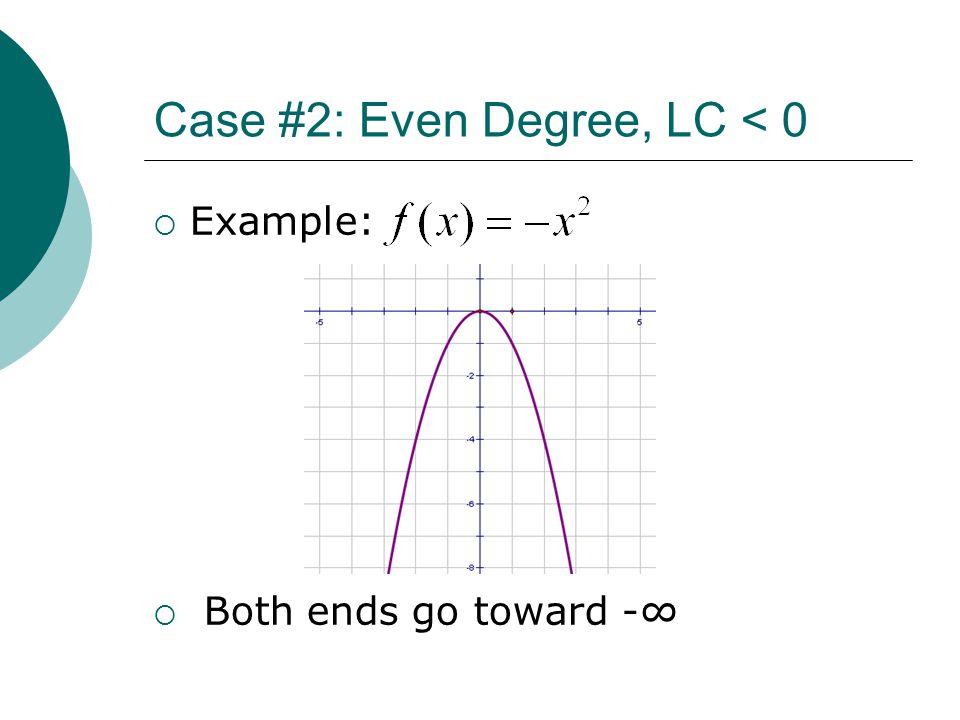 Case #2: Even Degree, LC < 0  Example:  Both ends go toward -∞