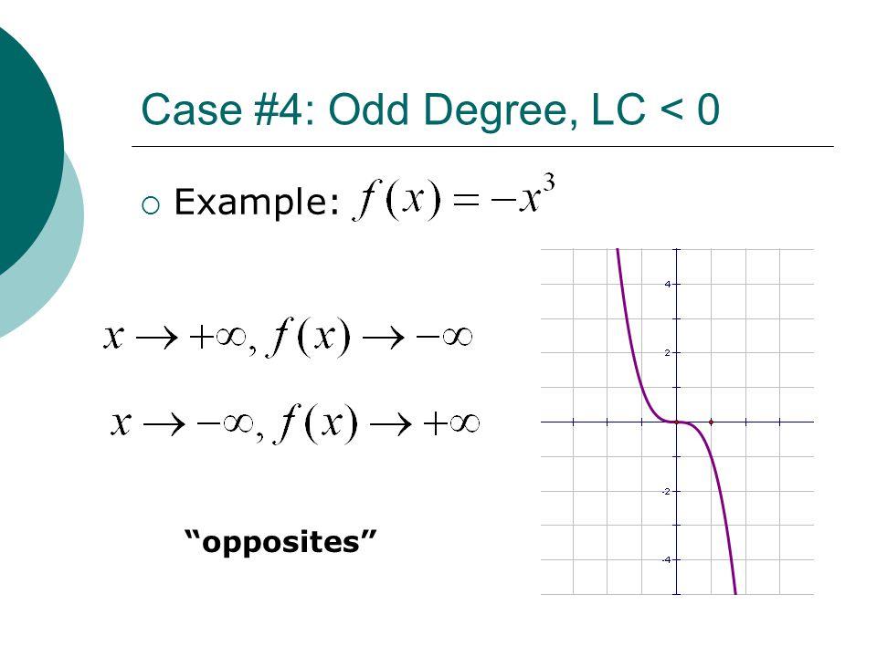 "Case #4: Odd Degree, LC < 0  Example: ""opposites"""