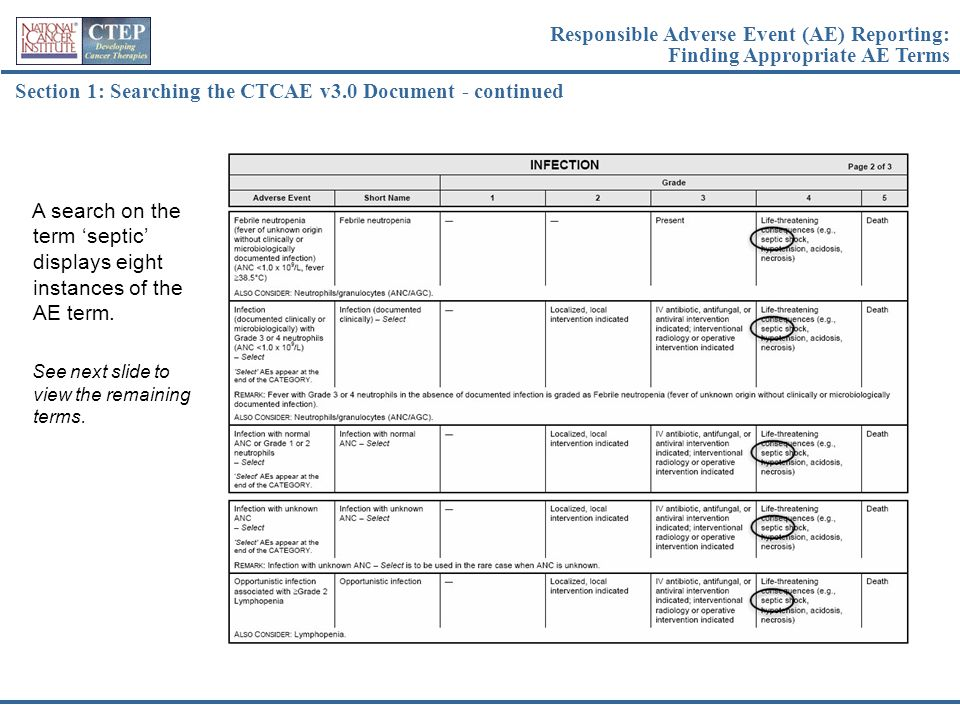 Section 1: Searching the CTCAE v3.0 Document - continued A search on the term 'septic' displays eight instances of the AE term. See next slide to view