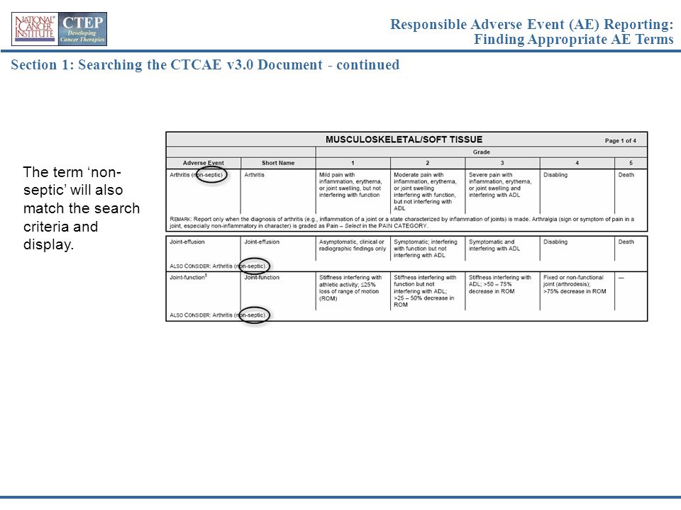 Section 1: Searching the CTCAE v3.0 Document - continued The term 'non- septic' will also match the search criteria and display. Responsible Adverse E