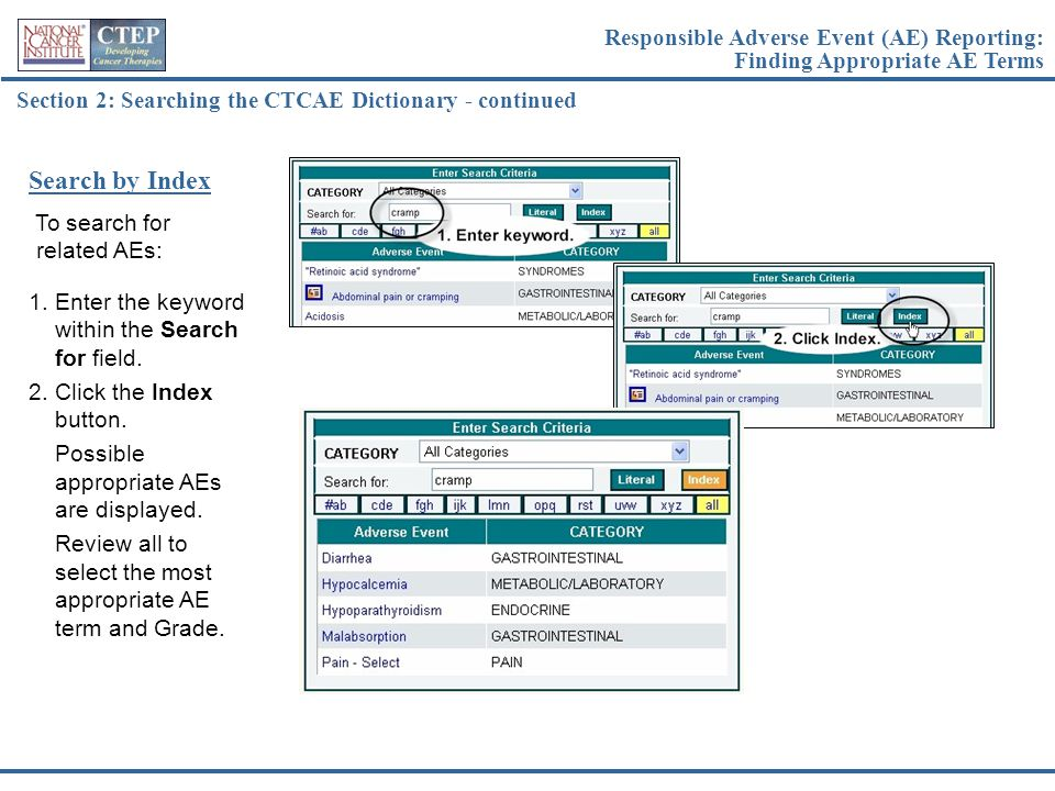 Section 2: Searching the CTCAE Dictionary - continued To search for related AEs: Search by Index 1.Enter the keyword within the Search for field. 2.Cl