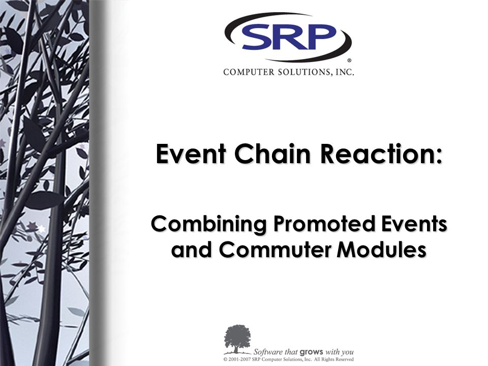 The Benefits of Promoted Events and Commuter Modules Resources: –The X Events by Andrew McAuley - http://www.sprezzatura.com/senl/senl17.htm http://www.sprezzatura.com/senl/senl17.htm –Creating a Custom Event by Don Bakke - http://www.srpcs.com/dr_knowledgebase.aspx http://www.srpcs.com/dr_knowledgebase.aspx –Programmer's Reference Manual – Chapter 10 – Promoted Events –Promoted Events by Kevin Fournier – http://www.srpcs.com/dr_knowledgebase.aspx http://www.srpcs.com/dr_knowledgebase.aspx