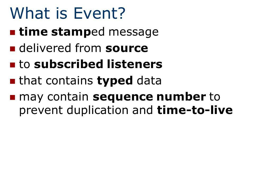 EventChannel Event channel decouples event publishers and listeners and it is both publisher and listener: public interface EventChannel extends EventListener, EventPublisher { } public interface LeasingFilteredEventChannel extends LeasingEventChannel, LeasingFilteredEventPublisher { }