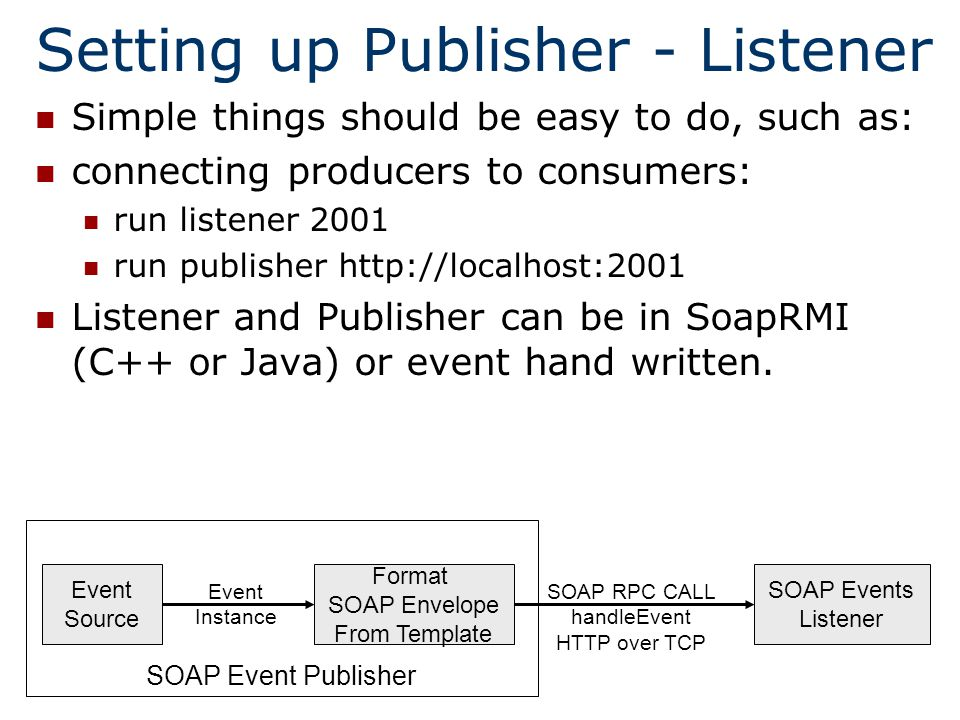 SOAP RPC CALL handleEvent HTTP over TCP SOAP Event Publisher Format SOAP Envelope From Template SOAP Events Listener Event Source Event Instance Setting up Publisher - Listener Simple things should be easy to do, such as: connecting producers to consumers: run listener 2001 run publisher   Listener and Publisher can be in SoapRMI (C++ or Java) or event hand written.