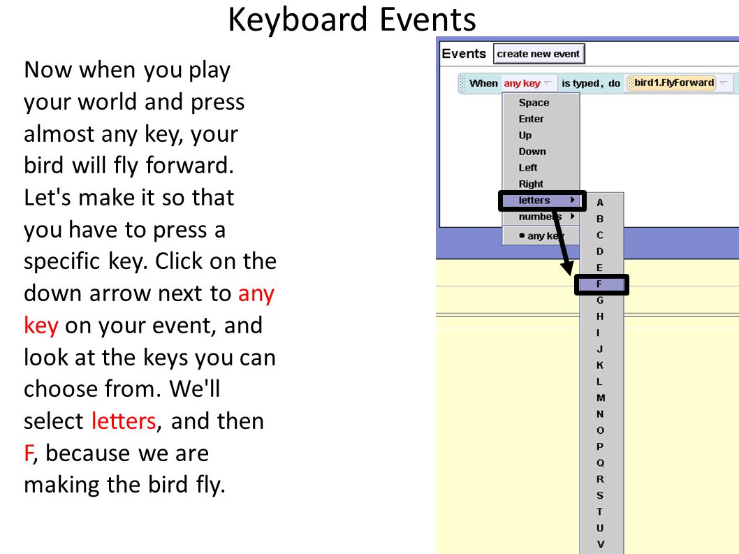 Keyboard Events Now when you play your world and press almost any key, your bird will fly forward.