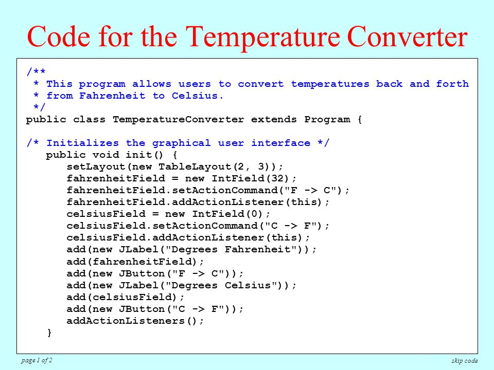 /** * This program allows users to convert temperatures back and forth * from Fahrenheit to Celsius.