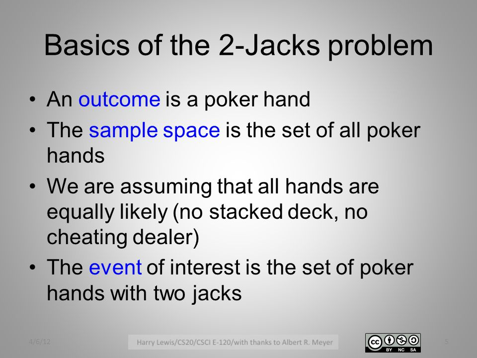 Basics of the 2-Jacks problem An outcome is a poker hand The sample space is the set of all poker hands We are assuming that all hands are equally likely (no stacked deck, no cheating dealer) The event of interest is the set of poker hands with two jacks 4/6/125