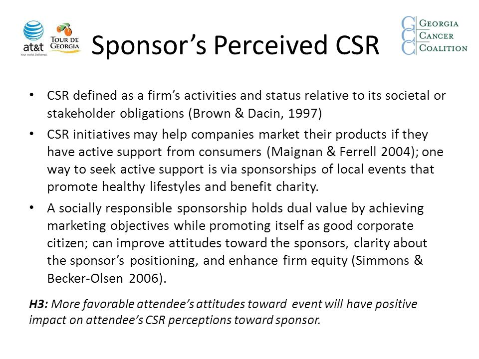 Sponsor's Perceived CSR CSR defined as a firm's activities and status relative to its societal or stakeholder obligations (Brown & Dacin, 1997) CSR in
