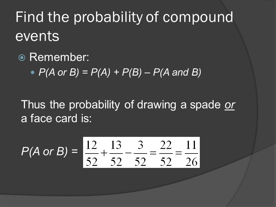 Find the probability of compound events  Remember: P(A or B) = P(A) + P(B) – P(A and B) Thus the probability of drawing a spade or a face card is: P(A or B) =