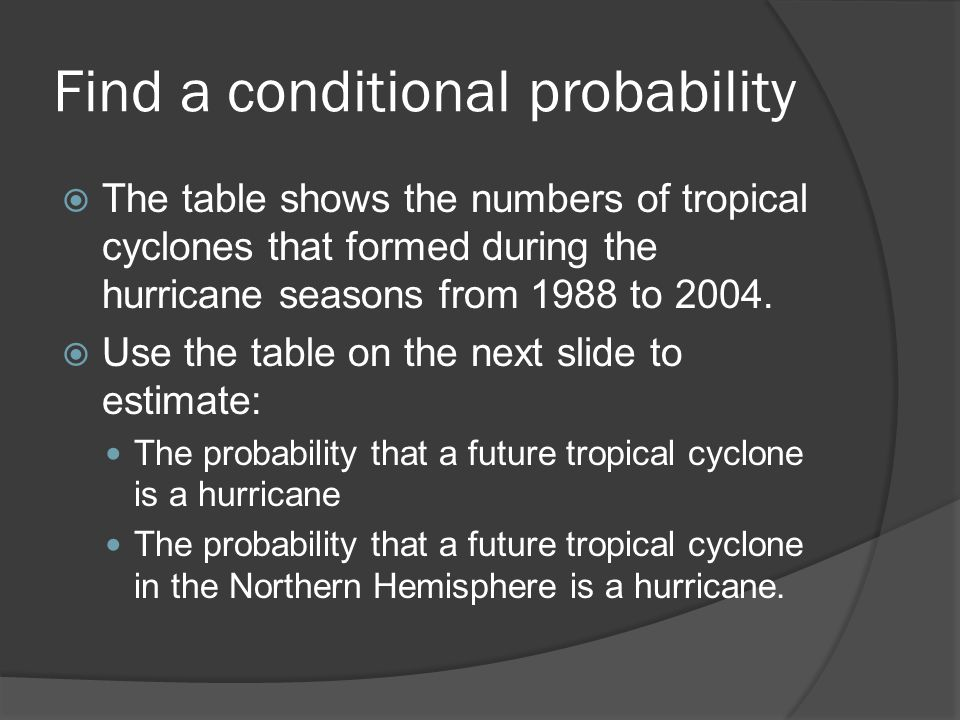 Find a conditional probability  The table shows the numbers of tropical cyclones that formed during the hurricane seasons from 1988 to 2004.