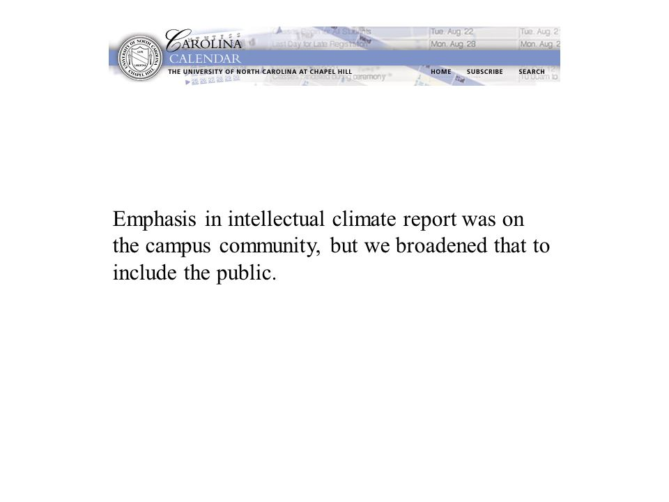 Emphasis in intellectual climate report was on the campus community, but we broadened that to include the public.