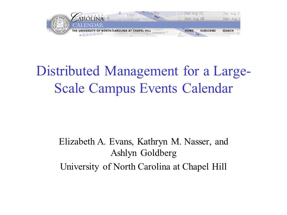 Distributed Management for a Large- Scale Campus Events Calendar Elizabeth A. Evans, Kathryn M. Nasser, and Ashlyn Goldberg University of North Caroli