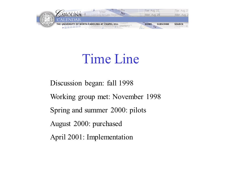 Time Line Discussion began: fall 1998 Working group met: November 1998 Spring and summer 2000: pilots August 2000: purchased April 2001: Implementation
