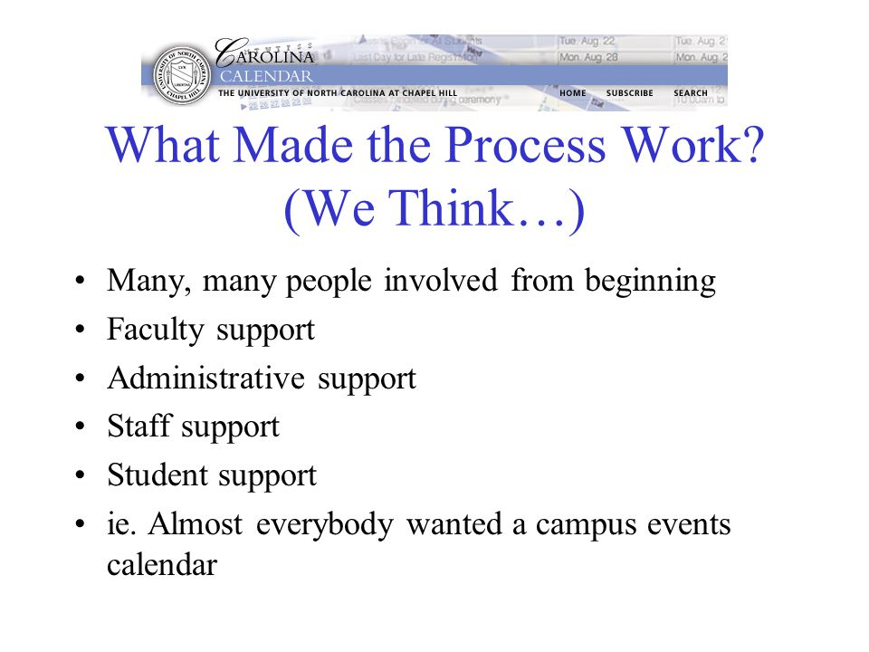 What Made the Process Work? (We Think…) Many, many people involved from beginning Faculty support Administrative support Staff support Student support