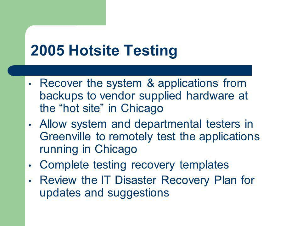 "2005 Hotsite Testing Recover the system & applications from backups to vendor supplied hardware at the ""hot site"" in Chicago Allow system and departme"