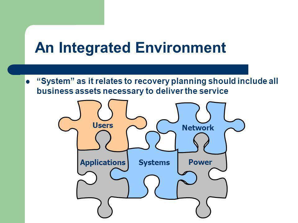 "An Integrated Environment ""System"" as it relates to recovery planning should include all business assets necessary to deliver the service SystemsAppli"