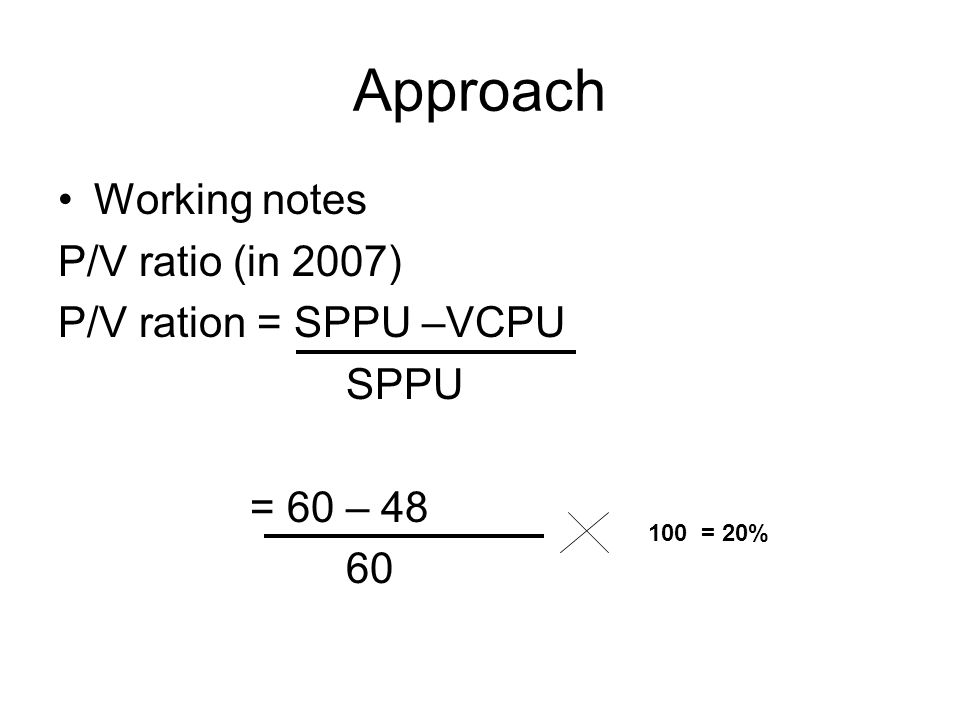 Approach Working notes P/V ratio (in 2007) P/V ration = SPPU –VCPU SPPU = 60 – 48 60 100 = 20%