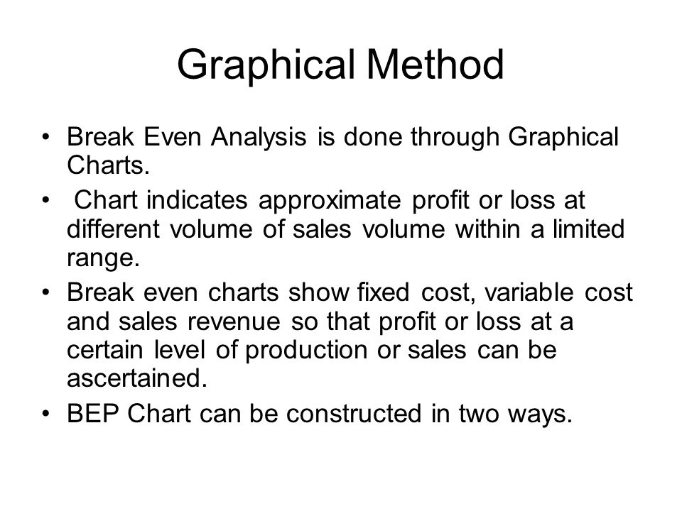 Graphical Method Break Even Analysis is done through Graphical Charts. Chart indicates approximate profit or loss at different volume of sales volume
