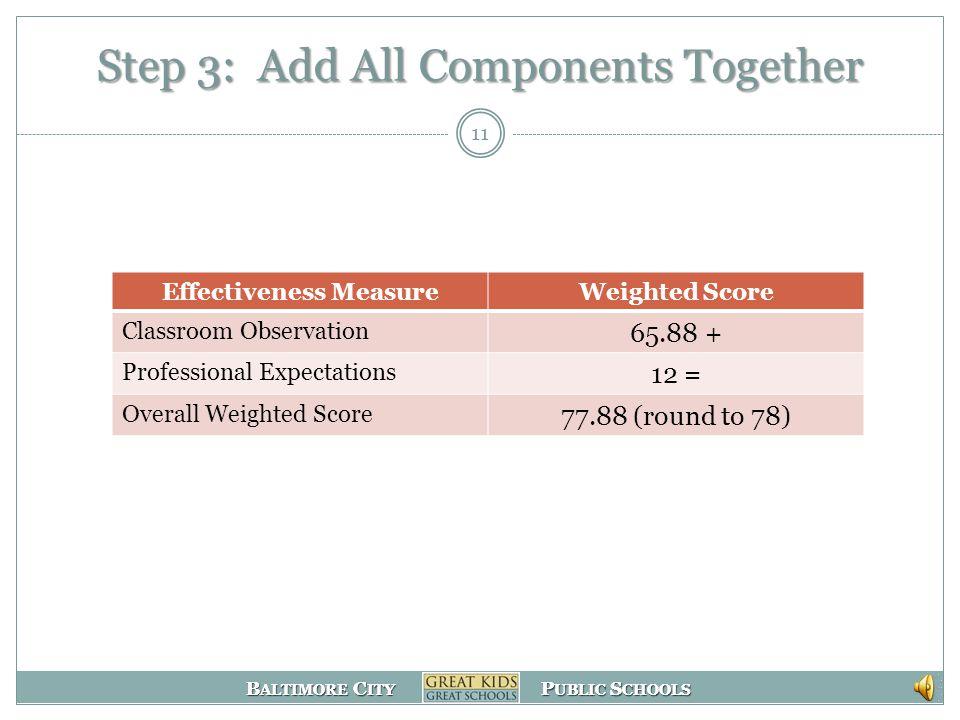 B ALTIMORE C ITY P UBLIC S CHOOLS B ALTIMORE C ITY P UBLIC S CHOOLS Step 2: Assign Weights 10 Evaluation Measure Scaled Score WeightWeighted ScoreExpl