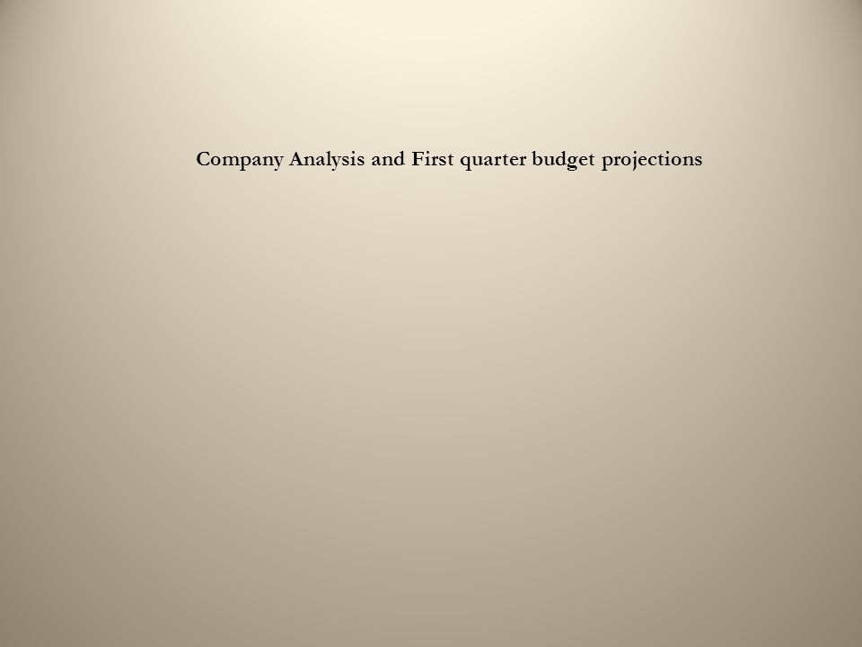 Company Analysis and First quarter budget projections