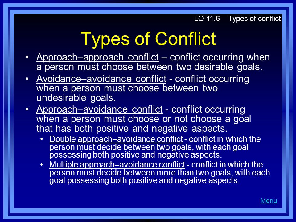 Types of Conflict Approach–approach conflict – conflict occurring when a person must choose between two desirable goals.