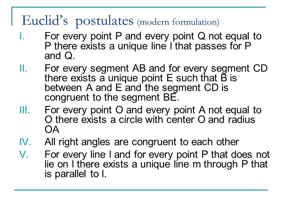 Euclid's postulates (modern formulation) I.