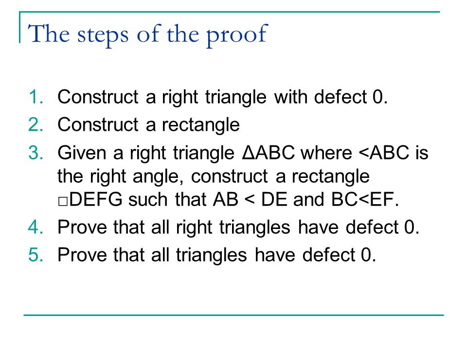 The steps of the proof 1.Construct a right triangle with defect 0.