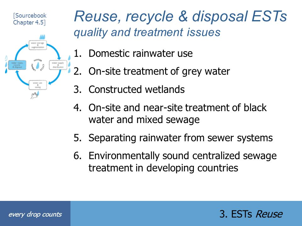 Reuse, recycle & disposal ESTs quality and treatment issues 1.Domestic rainwater use 2.On-site treatment of grey water 3.Constructed wetlands 4.On-sit